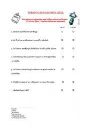 Alcohol worksheets