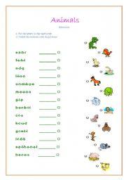 English Worksheets: Match Animals