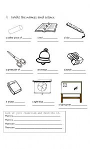 Printables Classroom Worksheets english worksheets the classroom page 136 objects