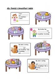 English Worksheet: My family�s breakfast table part 1