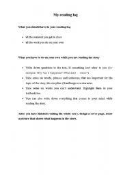 English Worksheets: My Reading Log