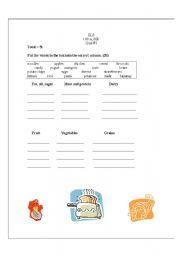 English worksheet: food vocabulary