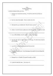 English worksheet: Joining sentences