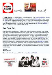 English Worksheet: cOMIC RELIEF AND RED NOSE DAY 2009