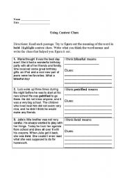 English Worksheet: Using Context Clues