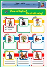 English Worksheet: WHERE ARE THEY FROM? / WHAT NATIONALITY ARE THEY?