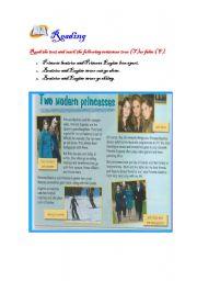 English Worksheets: two modern princess