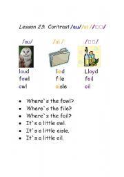 English Worksheet: Phonetics-vowel sounds-dipthongs /au//ai //ɔɪ/