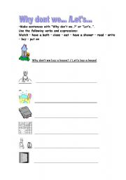 English Worksheets: Why don�t we...? / Let�s...!