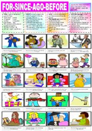 English Worksheets: FOR-SINCE-AGO-BEFORE
