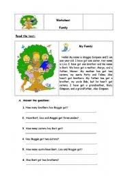 English worksheet: Reading comprehension My Family