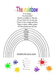 English Worksheet: the rainbow