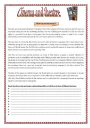 English Worksheet: CINEMA & THEATRE - vocabulary for lower-intermediate and intermediate students :)