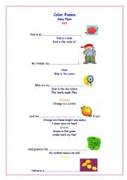 English Worksheet: Color Poems