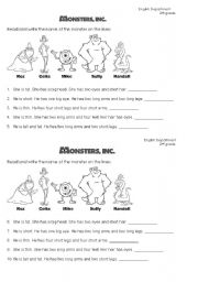 English Worksheets: Monsters Inc