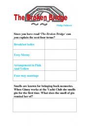 English Worksheets:  The Broken Bridge by Philip Pullman