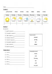 English Worksheet: Seasons, Weather, and Temperature