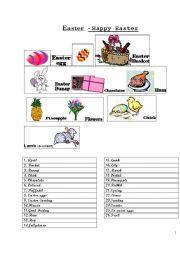 English Worksheet: EASTER vocabulary