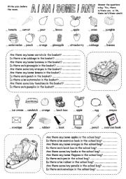 English Worksheet: A / AN / SOME / ANY