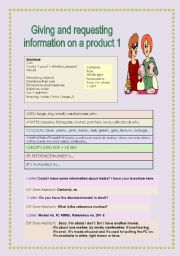 English Worksheets: Giving and requestion information on a product 1