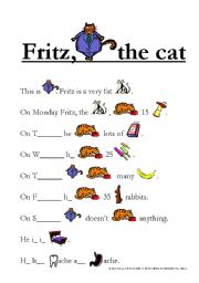 English Worksheets: Fritz, the cat