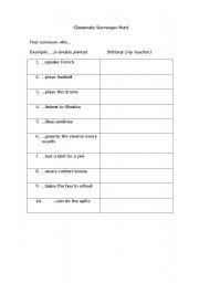 English Worksheets: Classmate Scavenger Hunt