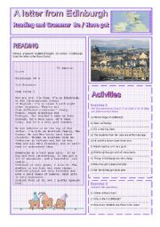 English Worksheet: A LETTER FROM EDIMBURGH : READING AND GRAMMAR Series N� 1