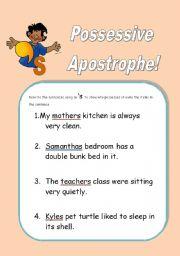 English Worksheet: Possessive Apostrophe!