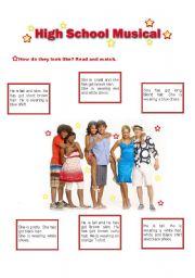 English Worksheet: Describing people - High School Musical (part 1)