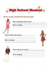 English Worksheets: Describing people - High School Musical