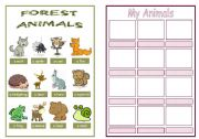English Worksheet: Animal pictionary booklet - Forest animals & My animals 4/4