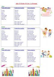 English Worksheets: Le Pr�sent.