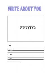 English Worksheets: write about you
