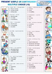 English Worksheet: PRESENT SIMPLE OR PRESENT CONTINUOUS - MULTIPLE CHOICE (10)