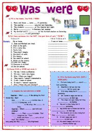 English Worksheet: Was  Were