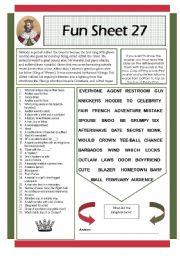English Worksheets: Fun Sheet 27