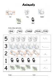 English Worksheets: Animals woksheet