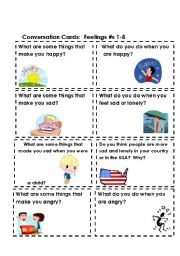 English Worksheet: Conversation Cards:  Feelings #s 1-8  (Part 1 of 3)