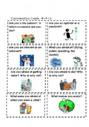 English Worksheet: Conversation Cards:  Feelings #s 9-16  (Part 2 of 3)