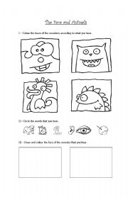 English Worksheets: The face and animals