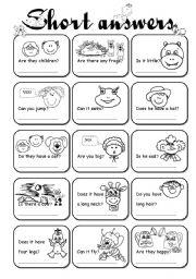 English Worksheets: Short answers 1