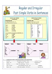 Regular and Irregular Past Simple (2 pages)