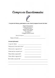 English Worksheets: Classical Composers