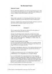 English Worksheet: The Holocaust Project