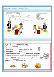English Worksheet: much and many
