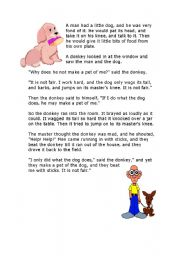 English Worksheets: the man and the dog