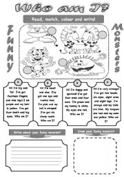 English Worksheets: WHO AM I? - FUNNY MONSTERS- FUN READING AND WRITING ACTIVITY FOR KIDS! (revision of colours, numbers, body parts)