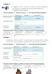 English Worksheet: Information Gap Speaking Activity.  Travel Arrangements.