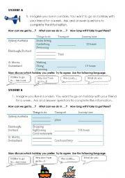 English Worksheets: Information Gap Speaking Activity.  Travel Arrangements.