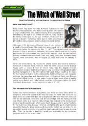English Worksheet: Hetty Green, the Witch of Wall Street - 3 pages + key